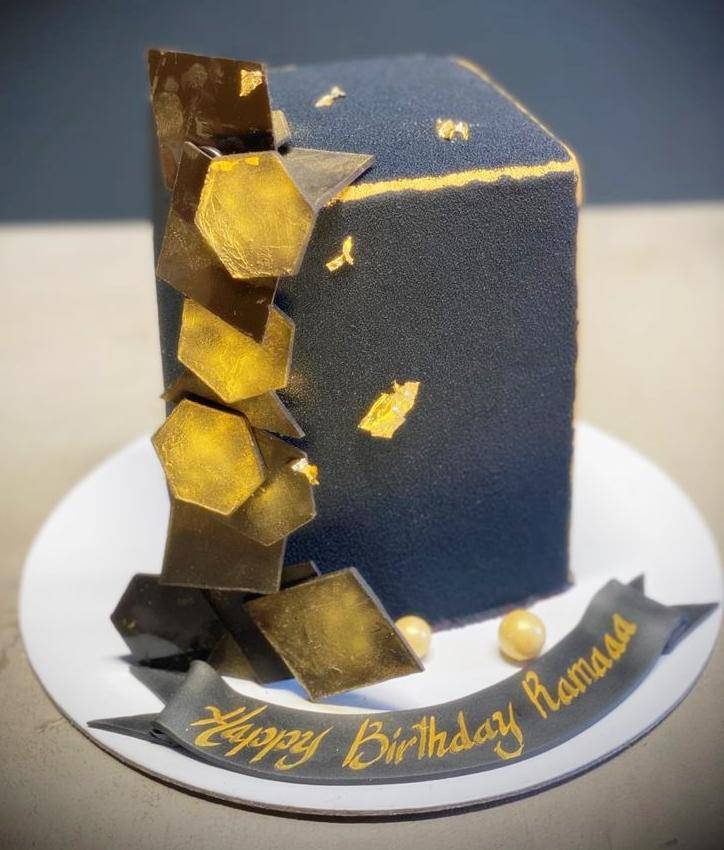 Black Gold Box Theme Cake - Eggless