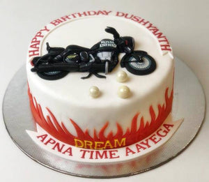 Royal Enfield Theme Cake - Eggless