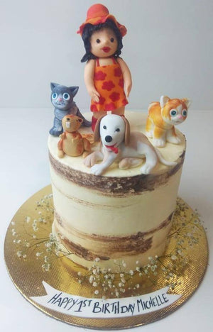 Cute Girl With Pets Theme Cake - Eggless