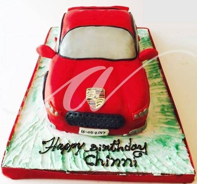 Porsche Car Cake - Eggless