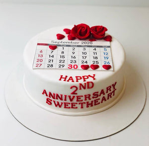 Anniversary Day Theme Cake - Eggless