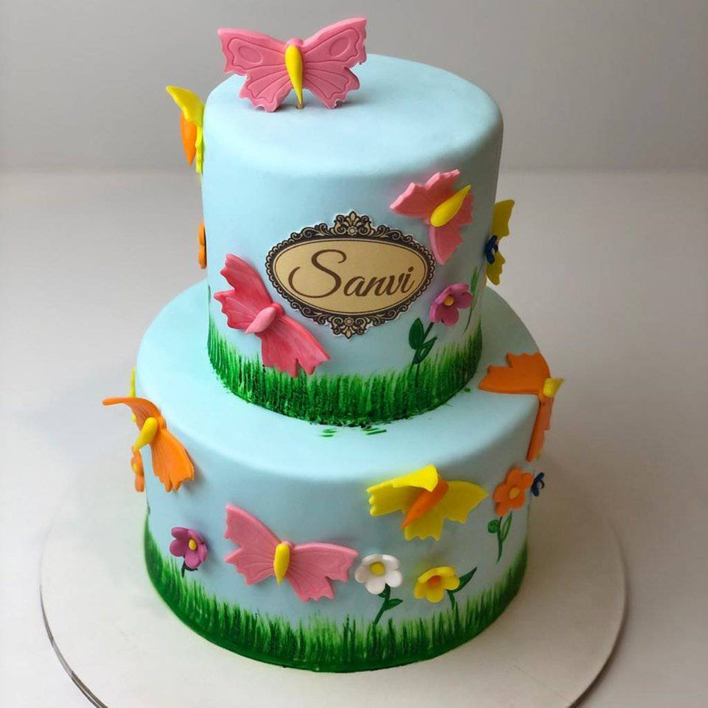 Flowers and Butterflies Theme Cake - Eggless
