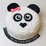 White Teddy Face Theme Cake - Eggless