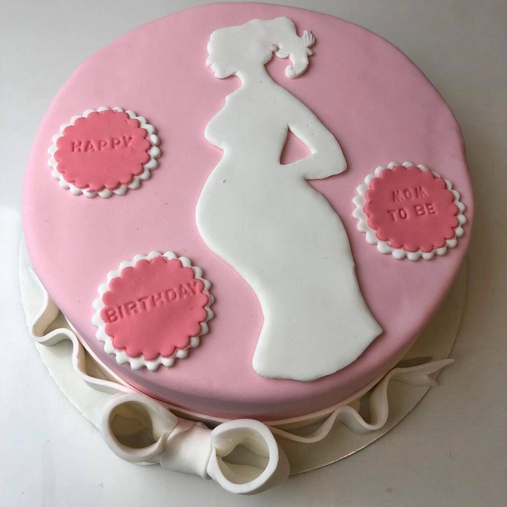 Pink Baby Shower Theme Cake - Eggless