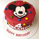 Smiling Mickey Mouse Cake - Eggless