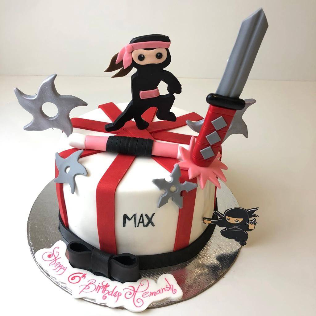 Fighter Ninja Theme Cake - Eggless