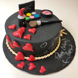 Makeup With Heart Cake - Eggless