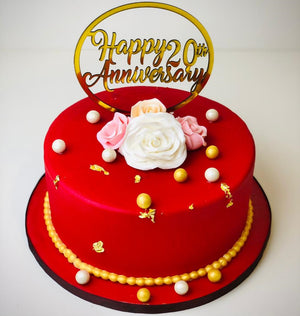 Romantic Red Anniversary Cake - Eggless