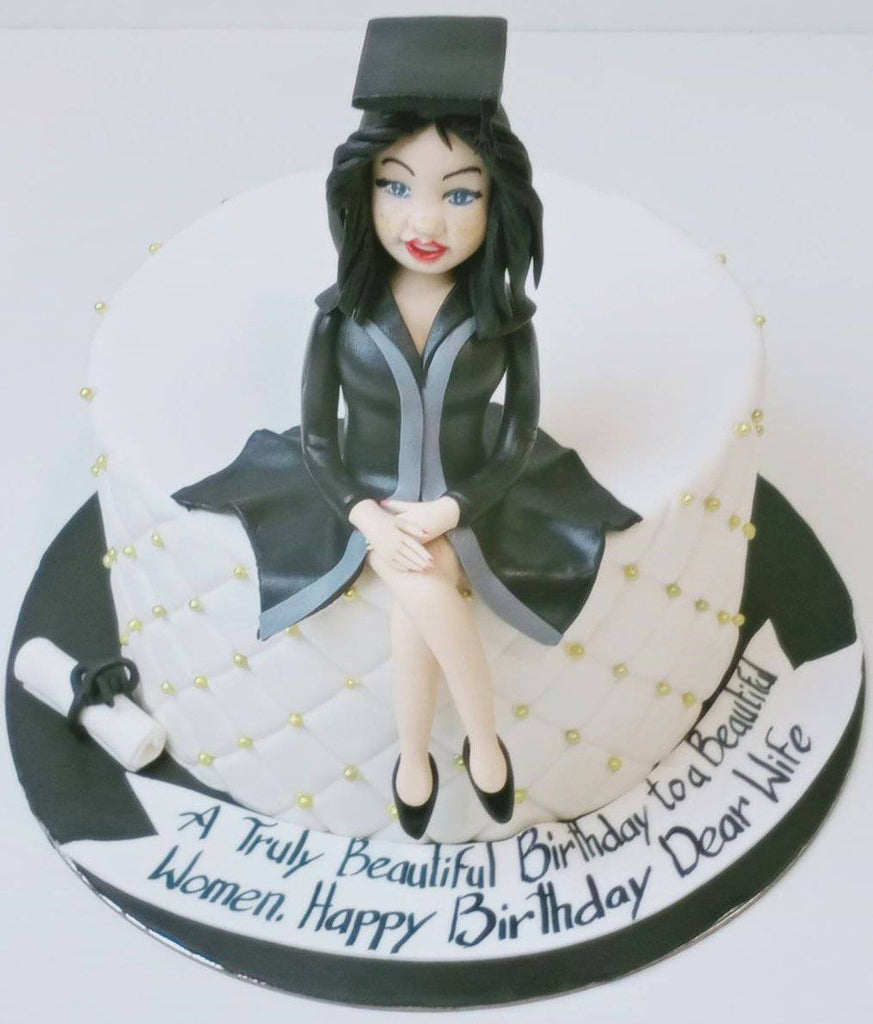 Graduate Birthday Girl Theme Cake - Eggless
