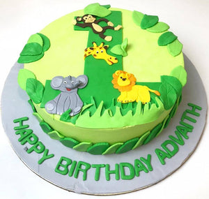 Jungle Theme 1st Birthday Cake - Eggless