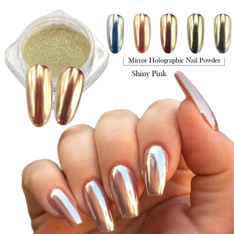 0.5g Fashion Champagne Silver Mirror Nail Glitter Powder Dazzling Pink Beauty Holographic Pigment Nail Art Decoration CH820/C