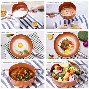 CS003 6Pcs Aluminum Nonstick Cookware Sets
