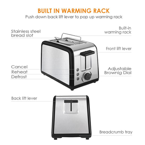 2 Slice Wide Slot Toaster ST002