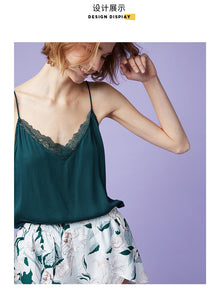 Green Floral Camisole Set