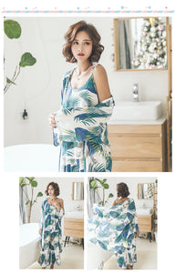 Green Floral 3-Piece Pajamas Set