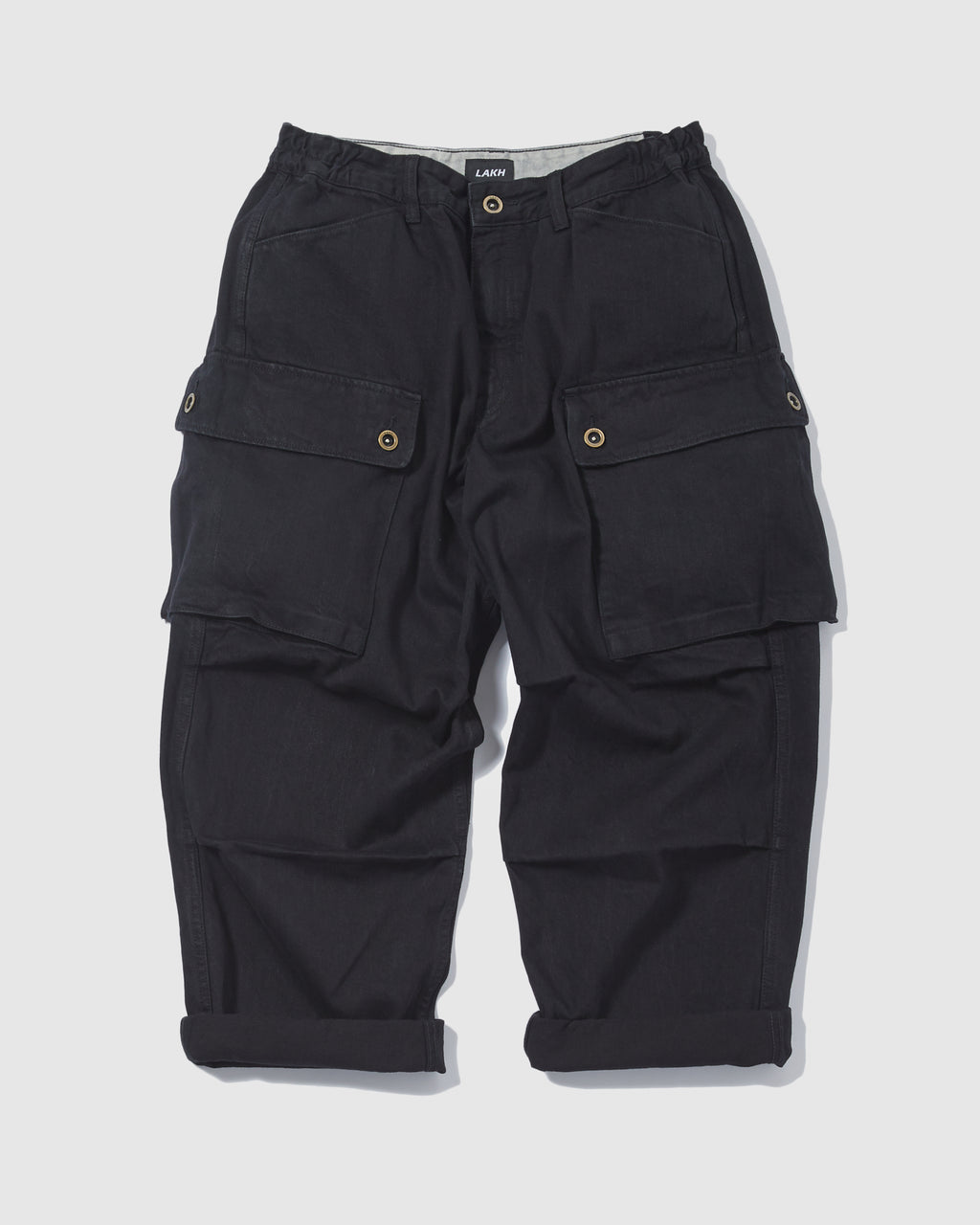 Wide Cargo Pants Denim  - Black
