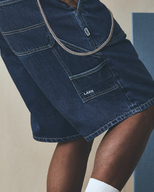 Worker Denim Shorts - Sky Blue