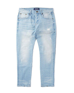 Button Pants - Distressed Light Blue Denim