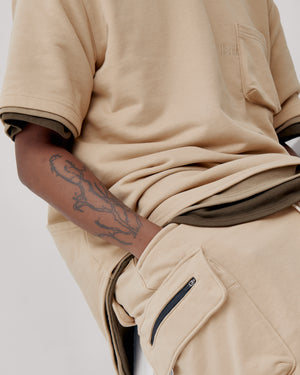 Knitted Cargo Shorts - Sand