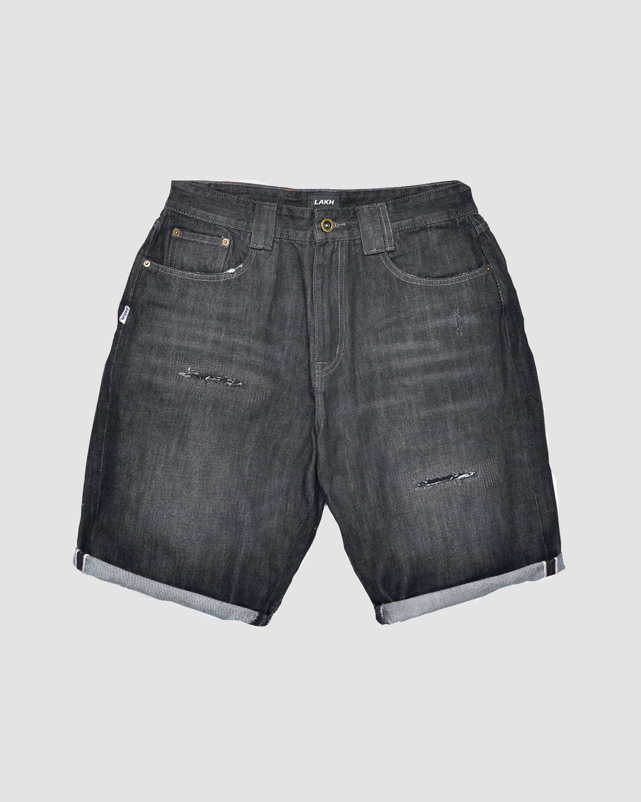 Distressed Denim Shorts - Black