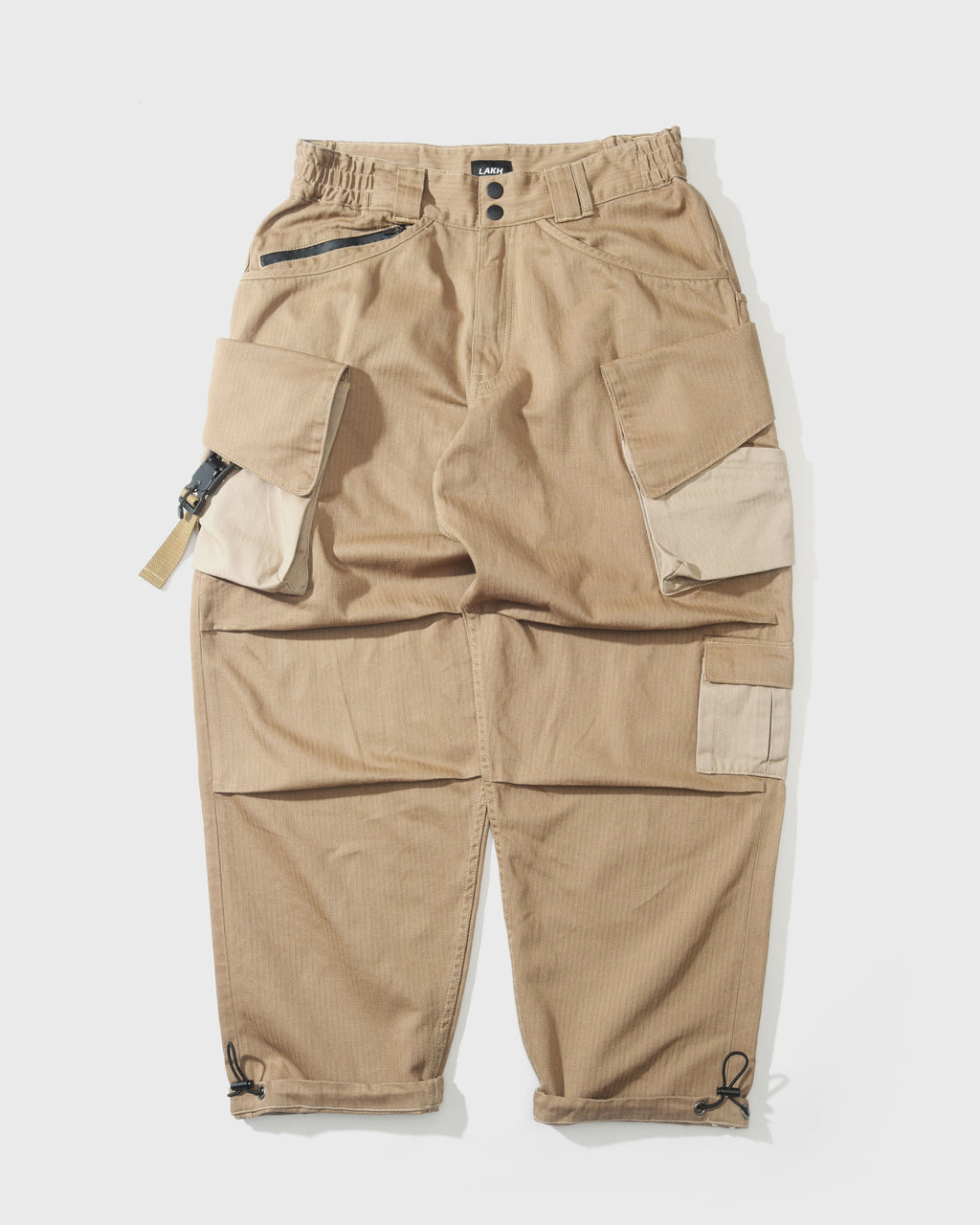 Twelve Pockets Cargo Pants - Herringbone Khaki