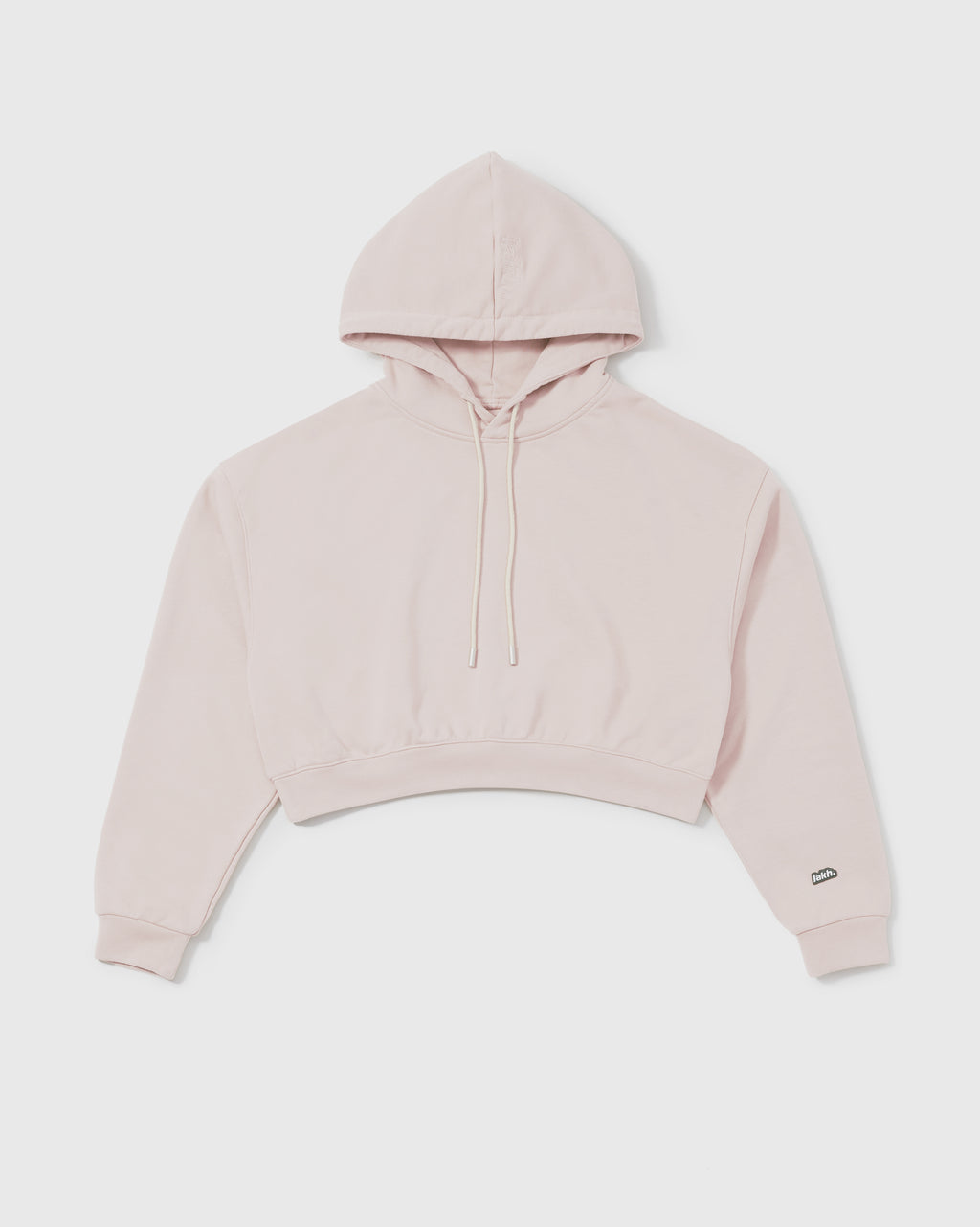 Knitted Cropped Hoodie - Pale Pink