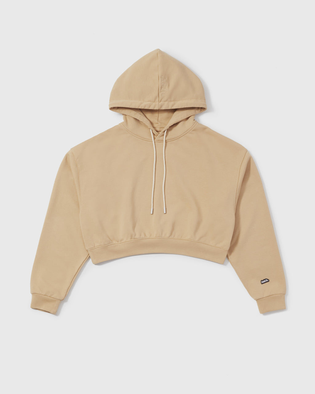 Knitted Cropped Hoodie - Sand