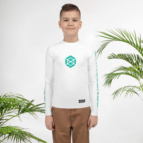 Youth White/Teal Rash Guard #subonly