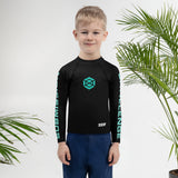 Kids/tots Black/Teal Rash Guard #subonly