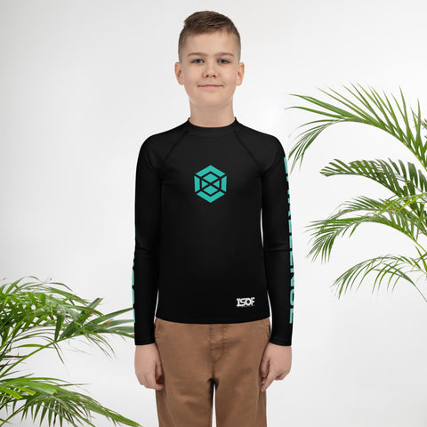 Youth Black/Teal Rash Guard #subonly