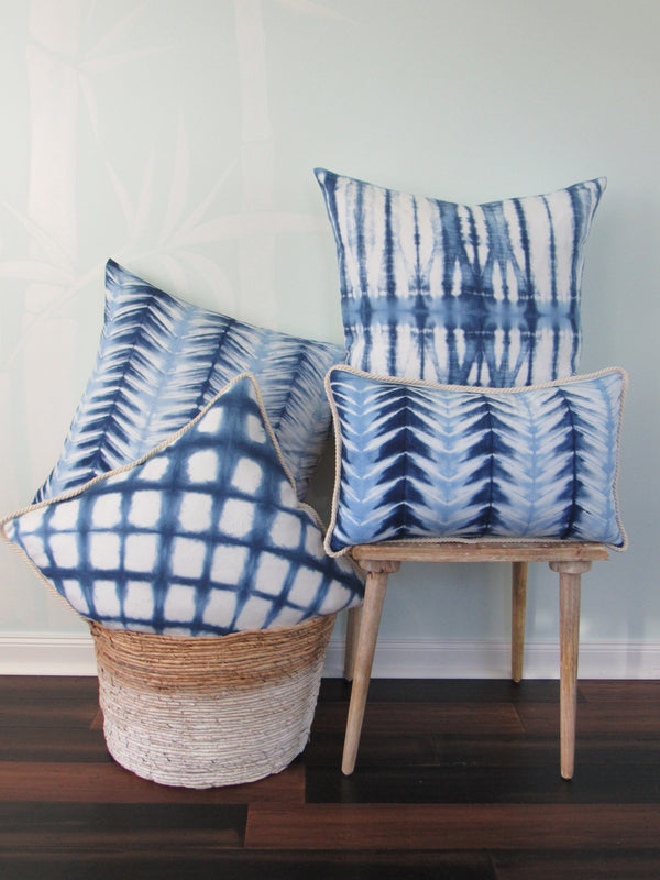 Ice Blues Chevron Stripe Lumber Pillow
