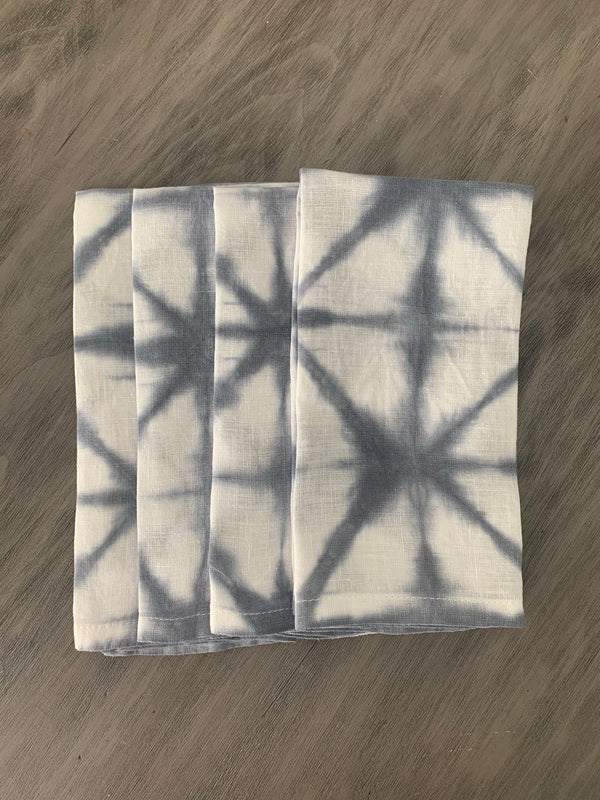 Silver Grey Check Napkin Set