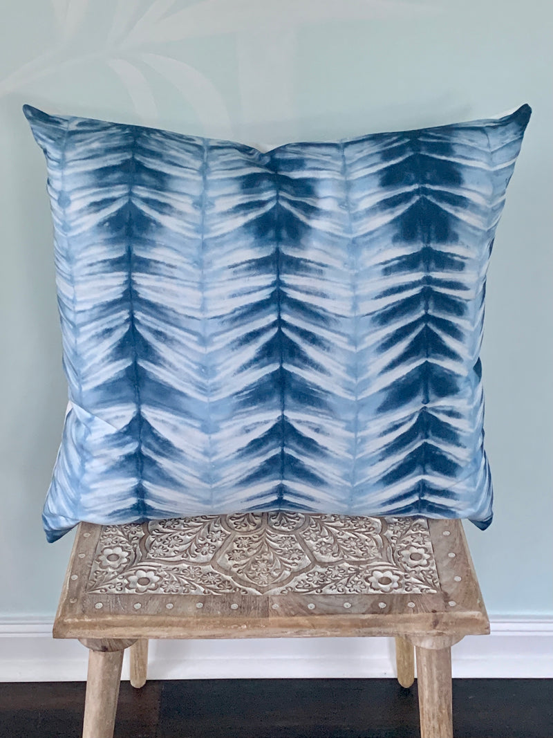 Ice Blues Chevron Stripe Pillow