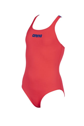 Girls' Solid Swim Pro JR One Piece Fluo Red - Neon Blue