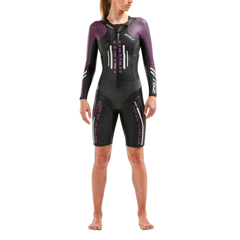 Pro-Swim Run Pro Wetsuit Black / Verry Berry Print Scarlet Womens