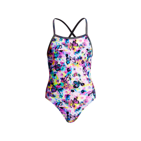 Girls' One Piece Single Strapped In Water Garden