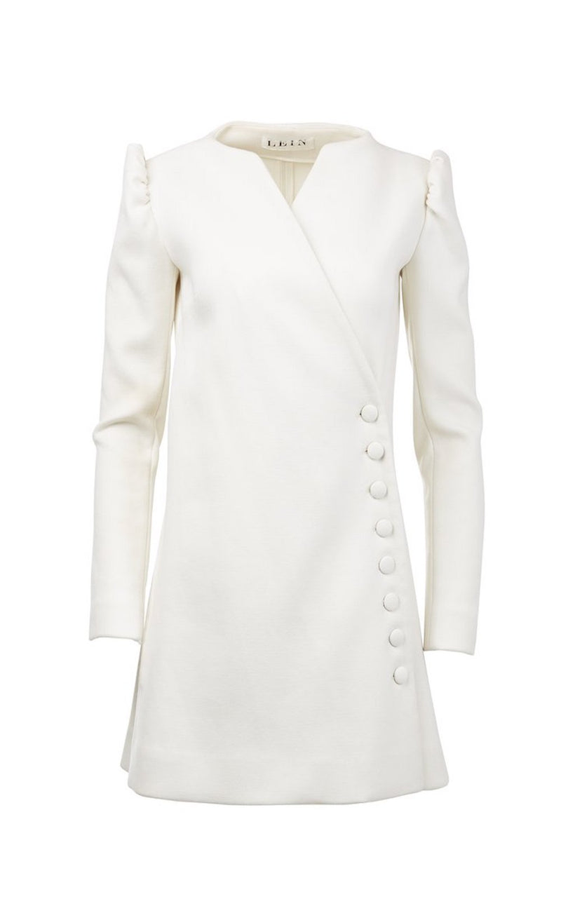Wool Side Button Wrap Dress