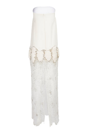 Gail's Silk Crepe French Embellished Lace Gown