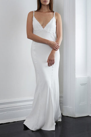 Silk Organza One Shoulder Gown