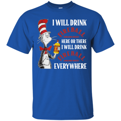 Cat In The Hat Fireball Shirt - Royal - Shipping Worldwide - NINONINE
