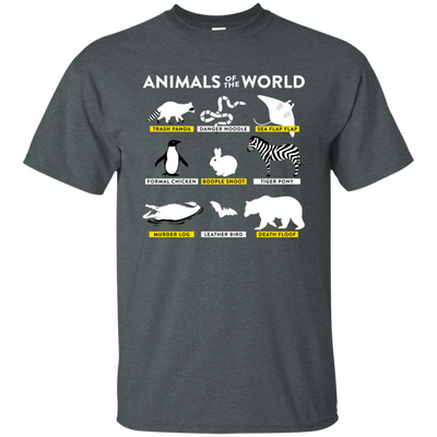 Animals Of The World Shirt - Dark Heather - Shipping Worldwide - NINONINE