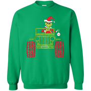 Grinch Driving Jeep Christmas Sweater