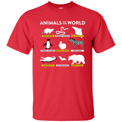 Animals Of The World Shirt - Red - Shipping Worldwide - NINONINE