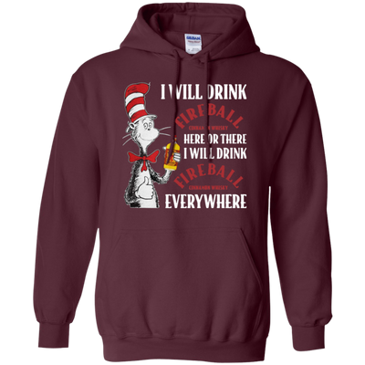 Cat In The Hat Fireball Hoodie - Maroon - Shipping Worldwide - NINONINE