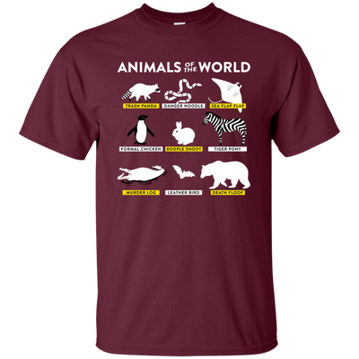 Animals Of The World Shirt - Maroon - Shipping Worldwide - NINONINE