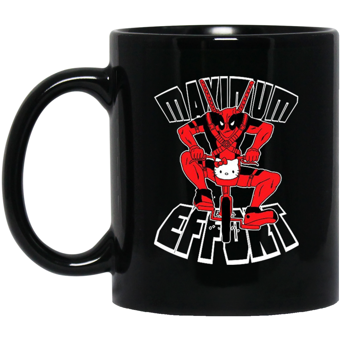 Deadpool On Kitty Bicycle Maximum Effort Mug