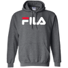 Fila Hoodie Red White Logo - Dark Heather - Shipping Worldwide - NINONINE