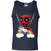 Funny Deadpool Riding Unicorn Tank Top