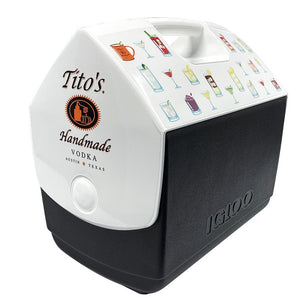 Side view of black and white Igloo Playmate cooler with Tito's Handmade Vodka logo