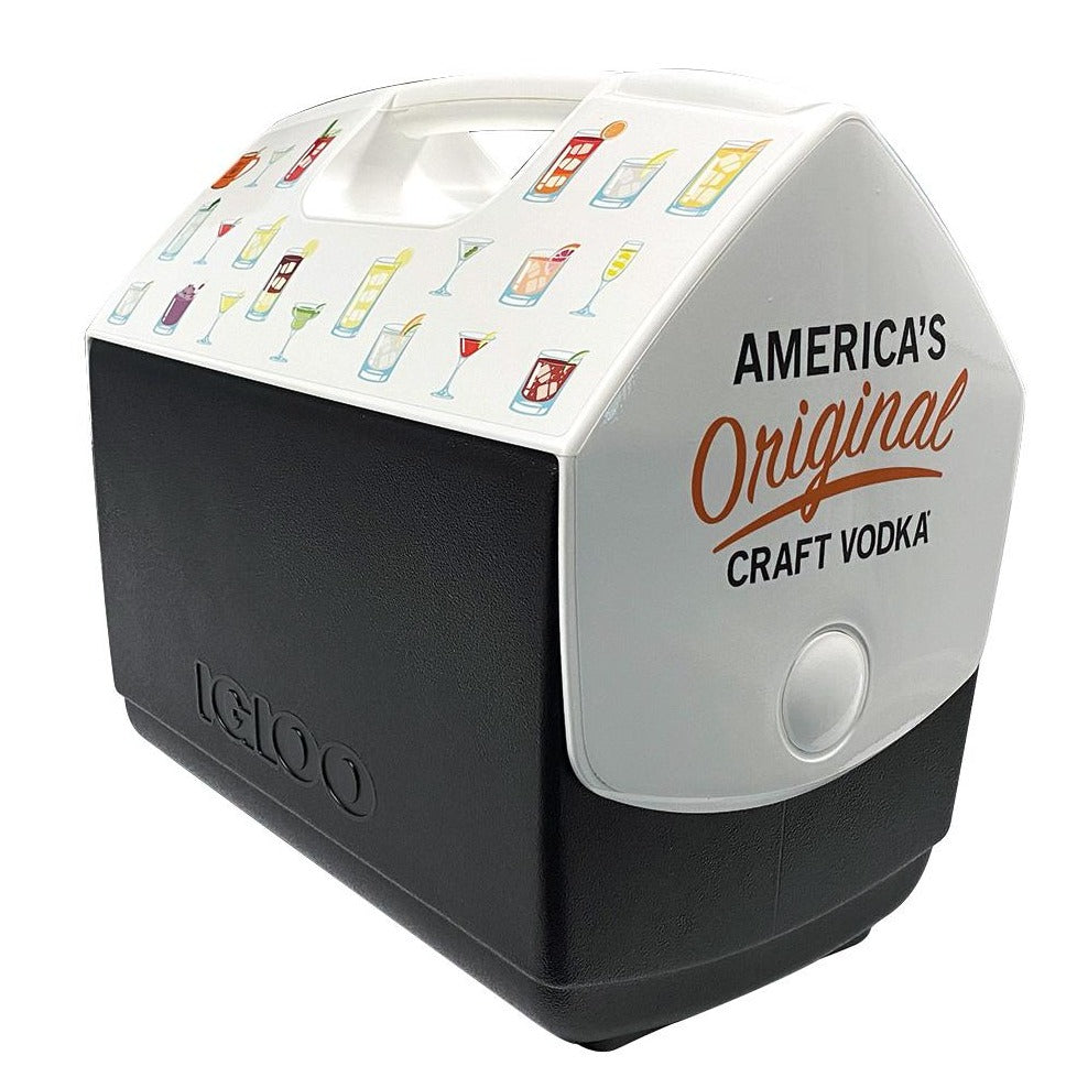 "Side view of black and white Igloo Playmate cooler with ""America's Original Craft Vodka"" mark"